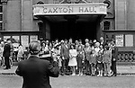 Caxton Hall, Westminster London Uk. Londons main register office untill 1979. Group of people to left of image waiting to go into get married...