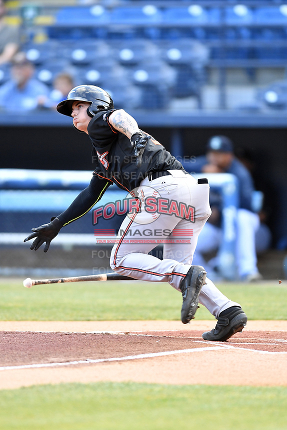 Delmarva Shorebirds shortstop Cadyn Grenier (3) runs to first base during a game against the Asheville Tourists at McCormick Field on May 3, 2019 in Asheville, North Carolina. The Shorebirds defeated the Tourists 6-5. (Tony Farlow/Four Seam Images)