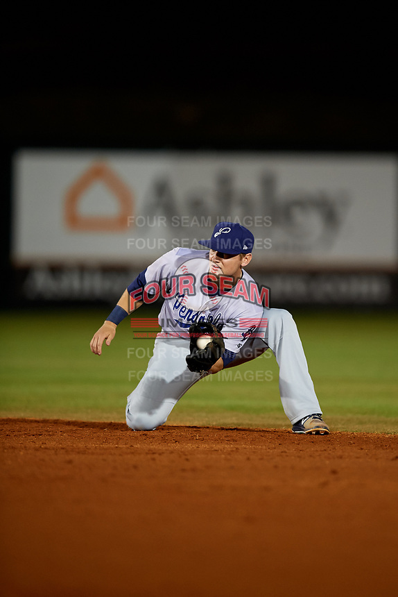 Pensacola Blue Wahoos second baseman Josh VanMeter (3) fields a ball during a game against the Mobile BayBears on April 25, 2017 at Hank Aaron Stadium in Mobile, Alabama.  Mobile defeated Pensacola 3-0.  (Mike Janes/Four Seam Images)
