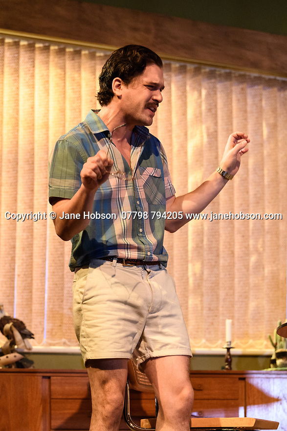 "The first UK production, since the death of playwright Sam Shepard's play ""True West"", opens at the Vaudeville Theatre, directed by Matthew Dunster. Kit Harington and Johnny Flynn star, as brothers Austin and Lee, with Madeleine Potter and Donald Sage Mackay completing the cast. Picture shows: Kit Harington (Austin)."