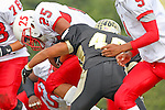 Palos Verdes, CA 09/30/11 - William Self (Lawndale #25) and Jin Matsumoto (Peninsula #40) in action during the Lawndale-Peninsula Varsity football game.
