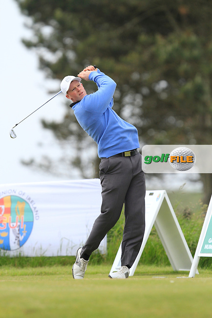 Paul Reavey (Warrenpoint) on the 1st tee during Round 2 of the Irish Amateur Close Championship at Seapoint Golf Club on Sunday 8th June 2014.<br /> Picture:  Thos Caffrey / www.golffile.ie