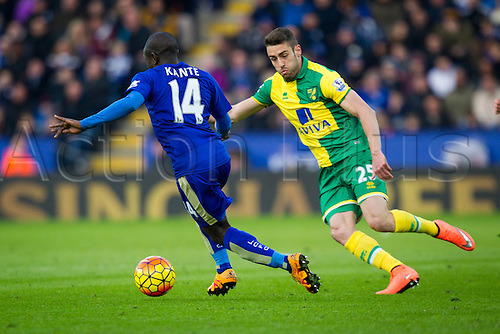 27.02.2016. King Power Stadium, Leicester, England. Barclays Premier League. Leicester City versus Norwich City. N'Golo Kante of Leicester City breaks past Ivo Pinto of Norwich City.