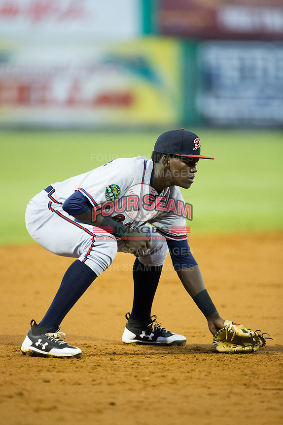Danville Braves third baseman Jan Carlos Encarnacion (8) on defense against the Burlington Royals at Burlington Athletic Stadium on August 14, 2017 in Burlington, North Carolina.  The Royals defeated the Braves 9-8 in 10 innings.  (Brian Westerholt/Four Seam Images)
