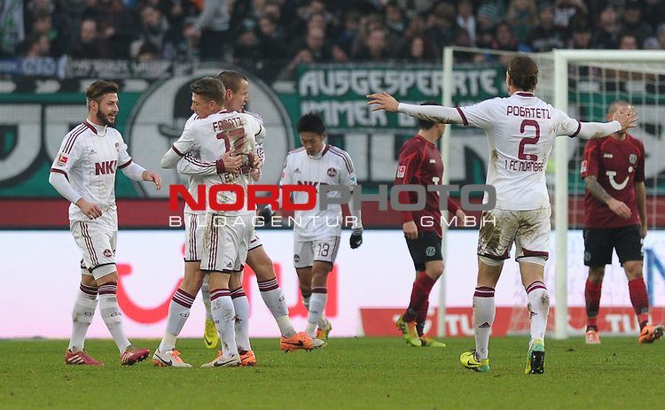 14.12.2013, HDI Arena, Hannover, GER, 1.FBL, Hannover 96 vs 1. FC N&uuml;rnberg / Nuernberg, im Bild Jubel beim FCN nach dem 1:0  durch Adam Hlou&scaron;ek. <br /> <br /> Querformat,<br /> Torschuetze / Torsch&uuml;tze<br /> Torjubel / Jubel <br /> <br /> Foto &copy; nordphoto / Frisch