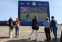 Watching big scoreboard during Saturday's Fourballs, at the Ryder Cup, Le Golf National, Île-de-France, France. 29/09/2018.<br /> Picture David Lloyd / Golffile.ie<br /> <br /> All photo usage must carry mandatory copyright credit (© Golffile | David Lloyd)