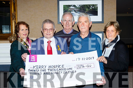 The Organisors of the Models in Recovery fashion show presented a cheque of €21,196 to the Kerry Hospice chairman Ted Moynihan in Scotts Hotel Killarney l-r: Angela Curran, Ted Moynihan, Cathal Walsh, Pat Doolan, Noreen Collins