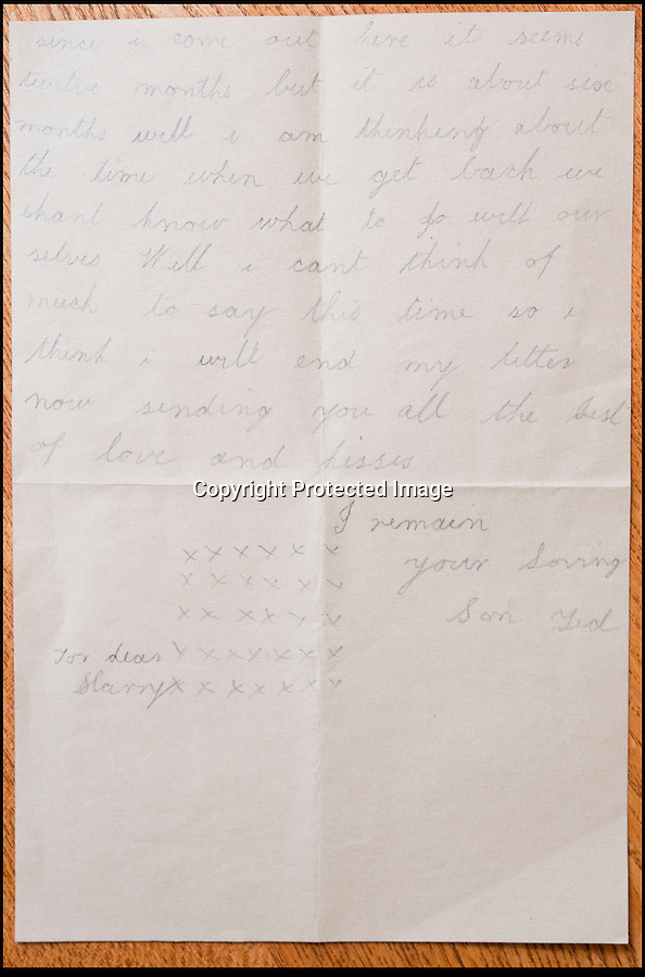BNPS.co.uk (01202 558833)<br /> Pic: PhilYeomans/BNPS<br /> <br /> Last letter home dated 6th July 1916.<br /> <br /> Discovered in a loft - Poingnant reminder of families tragic loss during the Great War.<br /> <br /> A moving time capsule containing the last belongings of a dead soldier his family couldn't bring themselves to look at has been found in an attic after 98 years.<br /> <br /> The possessions of Private Edward Ambrose were sent home from the Western Front to his devastated parents after he was killed at the Somme.<br /> <br /> Too painful to look at, the poignant items were shut into a leather case and put into storage where they remained for almost a century.<br /> <br /> The case has now been opened by Pvt Ambrose's 82-year-old nephew who recovered it after reading about an appeal for untold stories for a local First World War exhibition.<br /> <br /> The effects include black and white photos of his loved ones, letters from his parents, his half-smoked pipe and a cigarette case with 10 roll-ups.