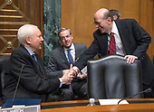 United States Senator Orrin Hatch (Republican of Utah), Chairman, US Senate Committee on Finance, left, shakes hands with David J. Kautter, Acting Commissioner, Internal Revenue Service (IRS) and Assistant US Secretary of the Treasury for Tax Policy, right, as he prepares to testify before the committee on the President's Fiscal Year 2019 budget on Capitol Hill in Washington, DC on Wednesday, February 14, 2018.<br /> Credit: Ron Sachs / CNP