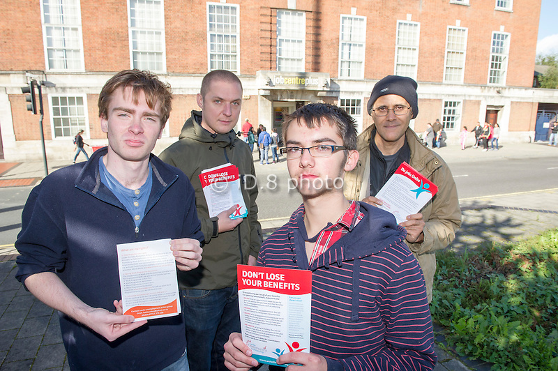 Unite Community members distributing leaflets outside the Jobcentre Plus office in Leeds. L-R Jack Dillion, Jo, Callum Stanland and Brian.
