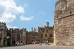 Berkeley castle, Gloucestershire, England, UK built by Robert Fitzharding in 12th century tourist group in castle keep