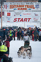 Musher # 4 Ed Iten at the Restart of the 2009 Iditarod in Willow Alaska