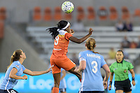Houston, TX - Friday April 29, 2016: Chioma Ubogagu (9) of the Houston Dash goes up for a header against Sky Blue FC at BBVA Compass Stadium. The Houston Dash tied Sky Blue FC 0-0.