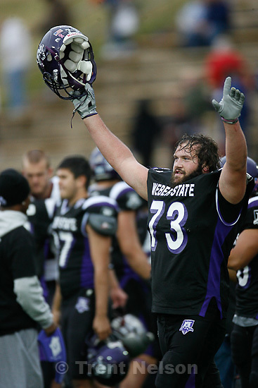 Trent Nelson  |  The Salt Lake Tribune.Weber State's J.C. Oram celebrates the win, Weber State vs. Montana, college football Saturday, October 30, 2010.