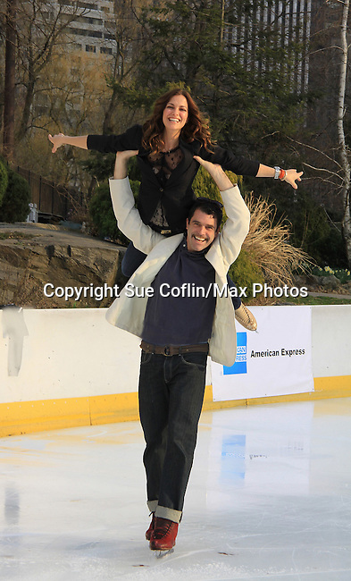 All My Children Rebecca Budig & Douglas Webster (Ice Theatre of New York - Artistic Director) - The 2013 Skating with the Stars- a benefit gala for Figure Skating in Harlem on April 8, 2013 at Trump Wollman Rink, New York City, New York. (Photo by Sue Coflin/Max Photos)