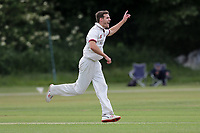Nick Winter of Brentwood celebrates taking the wicket of Talha Mumtaz during Brentwood CC vs Ilford CC, Shepherd Neame Essex League Cricket at The Old County Ground on 8th June 2019