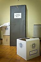 """[ITA] Elezioni politiche, immagini nei seggi elettorali.<br /> <br /> The box of italian voting with """"Ministero dell'Interno"""" texting on the floor during  Italian political culture in a day of election day. Silvi (TE) May 26 2014. Photo of Admo Di Loreto/BuenaVista*photo"""