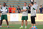 16 May 2015: New York head coach Giovanni Savarese (VEN) (center) with assistant Guillermo Valencia (COL) (right) and Carlos Llamosa (COL) (left). The Carolina RailHawks hosted the New York Cosmos at WakeMed Stadium in Cary, North Carolina in a North American Soccer League 2015 Spring Season match. The game ended in a 2-2 tie.