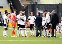 4th July 2020; Craven Cottage, London, England; English Championship Football, Fulham versus Birmingham City; Fulham Manager Scott Parker gives a team talk to his players during a drinks break