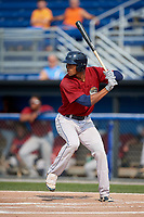 Mahoning Valley Scrappers right fielder Will Benson (7) at bat during the second game of a doubleheader against the Batavia Muckdogs on September 4, 2017 at Dwyer Stadium in Batavia, New York.  Mahoning Valley defeated Batavia 6-2.  (Mike Janes/Four Seam Images)