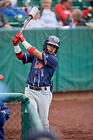 Bryan Torres (1) of the Rocky Mountain Vibes on deck against the Ogden Raptors at Lindquist Field on July 4, 2019 in Ogden, Utah. The Raptors defeated the Vibes 4-2. (Stephen Smith/Four Seam Images)