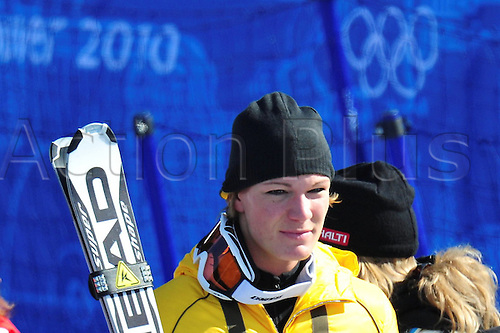 Maria Riesch (C) of Germany after her run at Women's Downhill race at the Vancouver 2010 Olympic Games on 17 February 2010 in Whistler, Canada. Riesch finished 8th after a severe crash of Sveden's Paerson. Photo: Peter Kneffel dpa  /Actionplus. Editorial UK Licenses Only