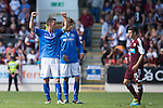 St Johnstone v Hearts...04.08.13 SPFL<br /> Gary McDonald celebrates at full time<br /> Picture by Graeme Hart.<br /> Copyright Perthshire Picture Agency<br /> Tel: 01738 623350  Mobile: 07990 594431