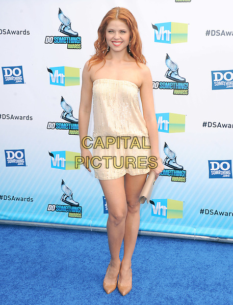 Anna Trebunskaya  .The 2012 Do Something Awards at the Barker Hangar in Santa Monica, California, USA..August 19th, 2012  .full length playsuit clutch bag beige strapless white cream.CAP/RKE/DVS.©DVS/RockinExposures/Capital Pictures.