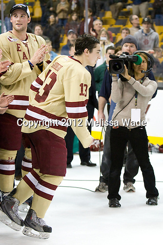 Brian Dumoulin (BC - 2), Johnny Gaudreau (BC - 13) - The Boston College Eagles defeated the University of Maine Black Bears 4-1 to win the 2012 Hockey East championship on Saturday, March 17, 2012, at TD Garden in Boston, Massachusetts.