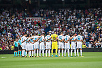 Players of both Real Madrid line up and pose for a photo prior to the Santiago Bernabeu Trophy 2017 match between Real Madrid and ACF Fiorentina at the Santiago Bernabeu Stadium on 23 August 2017 in Madrid, Spain. Photo by Diego Gonzalez / Power Sport Images