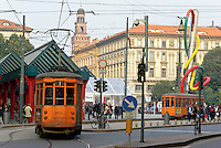 Milano, piazzale Cadorna con sullo sfondo il Castello Sforzesco --- Milan, Cadorna square with the Sforza Castle on the background