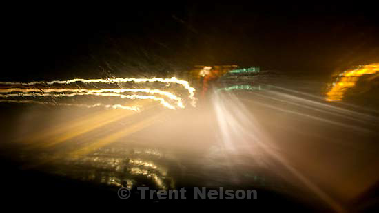 driving home, slow shutter road