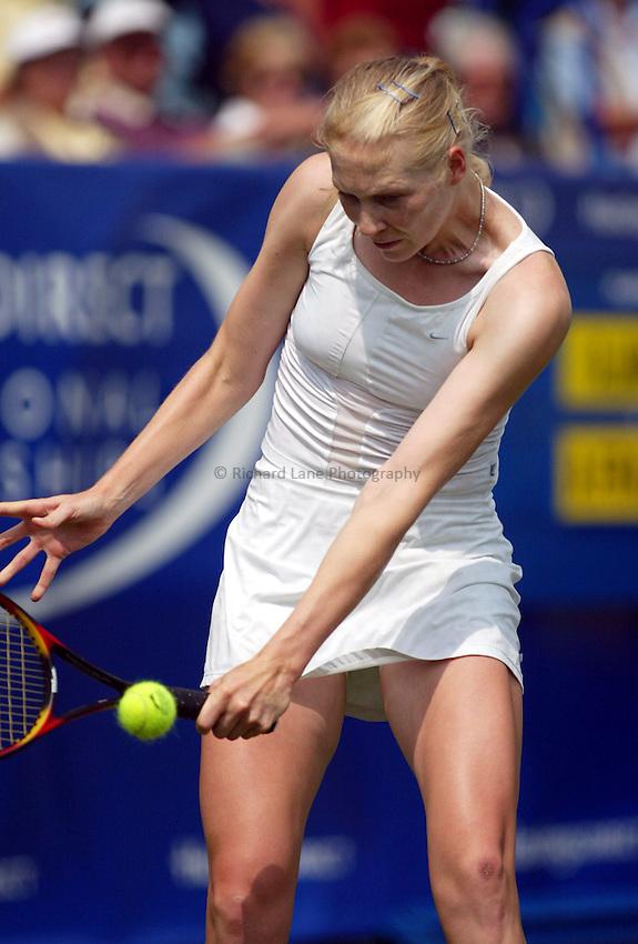 Photograph: Scott Heavey..Hastings Direct Womens Tennis.  Eastbourne. 17/06/2003..Amanda Janes