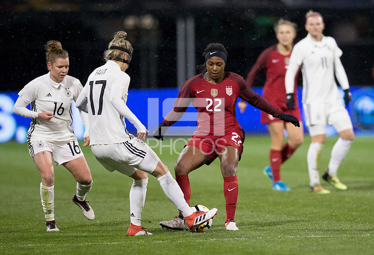 Columbus, Ohio - Thursday March 01, 2018: Verena Faißt, Taylor Smith during a 2018 SheBelieves Cup match between the women's national teams of the United States (USA) and Germany (GER) at MAPFRE Stadium.