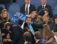 Francesca Pascale girlfriend of former premier Silvio Berlusconi to cheer for Napoli during the the Italian Cup final soccer match against Fiorentina at the Olympic stadium in Rome May 3, 2014 <br /> Francesca Pascale la fidanzata di silvio berlusconi sugli spalti dello stadio olimpico a tifare l Napoli durante la finale di coppa italia