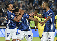BOGOTA - COLOMBIA, 03-02-2019: Matias De Los Santos (C) de Millonarios celebra después de anotar el primer gol de su equipo durante partido por la fecha 3 de la Liga Águila I 2019 entre Millonarios y Atlético Bucaramanga jugado en el estadio Nemesio Camacho El Campin de la ciudad de Bogotá. / Matias De Los Santos (C) of Millonarios celebrates after scoring the first goal of his team during match for the date 3 of the Liga Aguila I 2019 between Millonarios and Atletico Bucaramanga played at the Nemesio Camacho El Campin Stadium in Bogota city. Photo: VizzorImage / Gabriel Aponte / Staff.