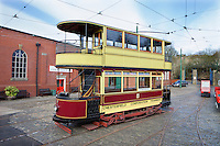 1904 No.7 Chesterfield Corporation Tram which ran between Brampton and Whittington pictured at The National Tramway Museum in Crich Derbyshire