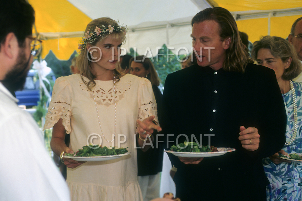 Ketchum, Idaho, U.S.A, August, 5th, 1989. Mariel Hemingway and friend at her father's, Jack Hemingway, wedding party.