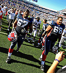 21 October 2007: Buffalo Bills center Melvin Fowler (67) walks off the field with offensive tackle Langston Walker (68) after a game against the Baltimore Ravens at Ralph Wilson Stadium in Orchard Park, NY. The Bills defeated the Ravens 19-14 in front of 70,727 fans marking their second win of the 2007 season...Mandatory Photo Credit: Ed Wolfstein Photo