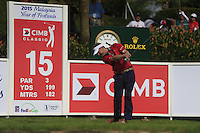 Billy Hurley III (USA) on the 15th tee during Round 3 of the CIMB Classic in the Kuala Lumpur Golf & Country Club on Saturday 1st November 2014.<br /> Picture:  Thos Caffrey / www.golffile.ie