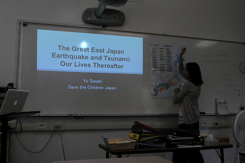 The Harker School - US - Upper School - Global Education - Harker is visited by Yu Sasaki, a teacher from Sendai, Japan, to talk about her efforts to Save the Children in Japan, for victims of the tsunami and earthquake  ?Photo by Kyle Cavallaro
