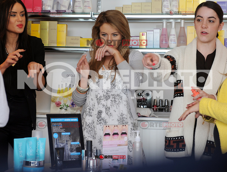 "EXCLUSIVE ALL ROUND PICTURE: MATRIXPICTURES.CO.UK.PLEASE CREDIT ALL USES..WORLD RIGHTS..Reality TV star Lydia Bright is pictured filming scenes for TOWIE, at her ""Bella Sorella"" boutique in Loughton, Essex...MAY 2nd 2013..REF: DBW 132942"