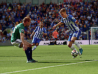 West Bromwich Albion's Craig Dawson (left)  vies for possession with Brighton &amp; Hove Albion's Solly March (right) <br /> <br /> Brighton 3 - 1 West Bromwich<br /> <br /> Photographer David Horton/CameraSport<br /> <br /> The Premier League - Brighton and Hove Albion v West Bromwich Albion - Saturday 9th September 2017 - The Amex Stadium - Brighton<br /> <br /> World Copyright &copy; 2017 CameraSport. All rights reserved. 43 Linden Ave. Countesthorpe. Leicester. England. LE8 5PG - Tel: +44 (0) 116 277 4147 - admin@camerasport.com - www.camerasport.com