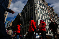 NEW YORK, NY - FEBRUARY 25:  People walk in front of the Macy's headquarter on February 25, 2019 in Manhattan, New York. Earnings reports of $2.53 is expected for Macy's Inc. with a share on sales of $8.4 billion before the market opens Feb. 26,.  (Photo by Eduardo Munoz Alvarez/VIEWpress)