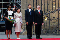 The US President Barack Obama and the Czech President Vaclav Klaus with their wifes, Michelle Obama and Livia Klausova respectively, during the welcome ceremony at Prague Castle in Prague, Czech Republic, 5 April 2009.