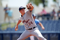 Lakeland Flying Tigers starting pitcher Beau Burrows (34) delivers a pitch during a game against the Charlotte Stone Crabs on April 16, 2017 at Charlotte Sports Park in Port Charlotte, Florida.  Lakeland defeated Charlotte 4-2.  (Mike Janes/Four Seam Images)