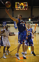 Saints forward Casey Frank claims a rebound during the NBL match between the Wellington Saints and Nelson Giants at TSB Bank Arena, Wellington, New Zealand on Friday, 21 May 2010. Photo: Dave Lintott / lintottphoto.co.nz