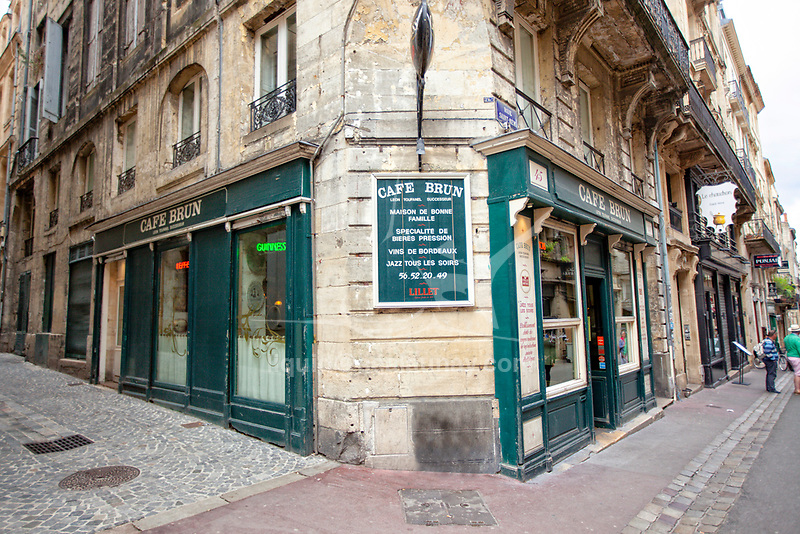 Cafe Brun in Bordeaux Bordeaux is a port city on the Garonne in the Gironde department in Southwestern France.<br /> It is the capital of the Nouvelle-Aquitaine region, as well as the prefecture of the Gironde department.