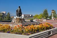 Golden Heart Plaza in downtown Fairbanks, Alaska. First family statue.