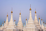 White stupas at Kuthodaw Pagoda, Mandalay, Myanmar